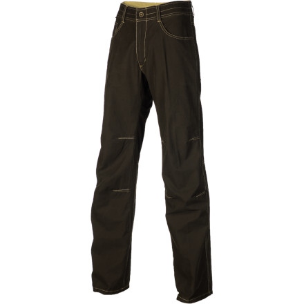 Climbing Get the comfort of traditional cotton canvas pants with half the weight when you slip into the Kuhl Mens Jean Pant. This cotton and nylon pant features a relaxed fit and articulated knees for all-day comfort. The nylon makes the Jean Pant dry quickly for days spent on the river, and the double needle bar tacks at critical junctions give this pant durability when you wear it for a day of cragging. Slide your cell phone into the side pocket to stay in contact throughout your daily adventures. - $68.95