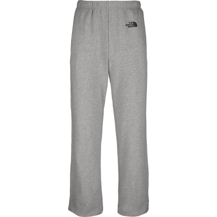 Camp and Hike When it's time to kick back and pop a cold one, you shed the performance gear and pull on the relaxed, cozy The North Face Men's Logo Pant. The pant's soft, heavyweight cotton-poly fleece soothes your soul, while the non-binding ribbed waistband (adjustable with an internal drawstring) and an open hem provide a comfortable, non-constricting fit. So whether you're taking an evening walk on the beach, hiking to the ridge to catch the sunset, or just hanging out on the deck around the grill, you're wearing the pants that will put you in the right frame of mind. - $44.95
