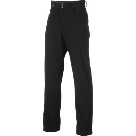 Fitness Jeans are always the-go-to for kicking around town, but sadly, they don't possess the elements of comfort needed for rides to the office or to the pub for-post work pints. So, instead of denim, get yourself into a pair of Zoic Downtown Stretch Pants for a more comfortable and stylish commute. Made to look and fit like a combination of your favorite jeans and riding shorts, these pants have a comfortable, durable construction that'll keep you riding in them daily. Cut into a straight-leg fit, the Downtown Stretch Pants use a double-weave stretch fabric for a casual look that accommodates the movements of cycling. And knowing that the pants will be seeing a ton of action, Zoic gave them a DWR treatment to repel wind and water. Now, with the right jacket, your ride won't be impeded by foul weather. Another issue that we're happy to see addressed is the prevention of chafing. The soft liner of the pants sits comfortably against your skin without irritating it. The gusseted crotch eliminates the center seams, giving you a better range of motion when you're sprinting out of the saddle through city traffic. The fixed waistband with belt loops lets you dress these pants up with your best strip of cowhide. And when you aren't wearing a belt, the internal drawstring dials in the fit. The Downtown Stretch Pants have all of the classic features of your favorite jeans -- two front hand pockets, a coin pocket, and two rear open pockets. A storage space on the right leg stealthily stashes your sunnies. And to prevent any scratches or smudges, it has a microfiber cleaning cloth attached inside. An internal pocket sleeve houses your MP3 player or cell phone. Zoic also added a cord control grommet and loop to route your headphones. So, you can mash to your favorite playlist without getting tangled up for now on. The Zoic Downtown Stretch Pants are available in the color Black and in six sizes from Small to XXX-Large. - $53.37