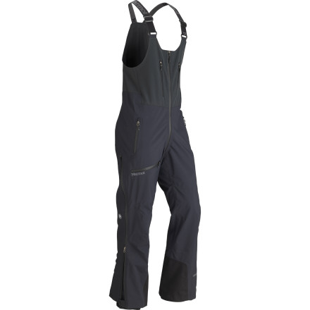 Ski Bottom line: the Marmot Men's Alpinist Bib Pant doesn't pull punches, period. This is a rugged three-layer shell pant designed to take foul weather seriously during your mountaineering and alpine climbing treks. Waterproof breathable Gore-Tex Pro Shell laughs in the face of whiteout conditions and brutal, wet weather, the suspender-style bibs keep your lower body and core securely protected from exposure, and small touches like a softshell bib panel and drop seat make all the difference when you're far from base camp and your mission is looming. - $302.47