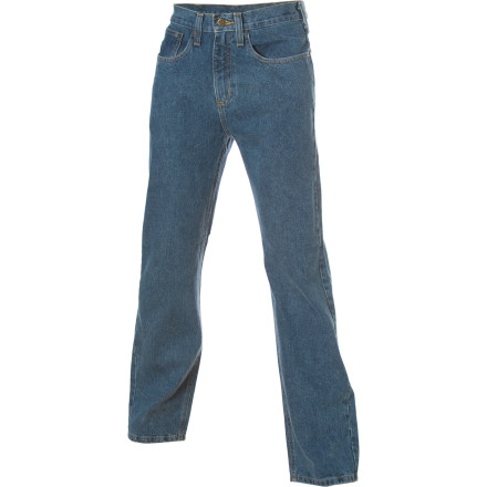 Wearing tough work pants no longer means you have to feel like you're wearing cardboard boxes. The Carhartt Relaxed-Fit Straight-Leg Denim Pant offers the same tried-and-true Carhartt quality with a more comfortable twist. A waist-length fit complements a roomy seat and thigh, while ideally sized leg openings accommodate your work boots. Wear them to the job site, to the barbecue, or just when you're working on a project in the garage. - $39.95