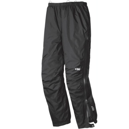 Camp and Hike For soggy backpacking trips in the Pacific Northwest or sloppy approaches to long alpine rock routes, pull on the Outdoor Research Men's Foray Pant for full waterproof breathable protection thanks to lightweight Gore-Tex PacLite fabric. This lightweight pant gives you big protection from the elements, but packs up small when the storm clears and it's time to get after it. A  3/4-length side zipper lets you ventilate in humid conditions or pull the pants on and off while wearing boots. A gusseted crotch and articulated knees help maintain mobility when you're hiking through the deluge. - $111.96