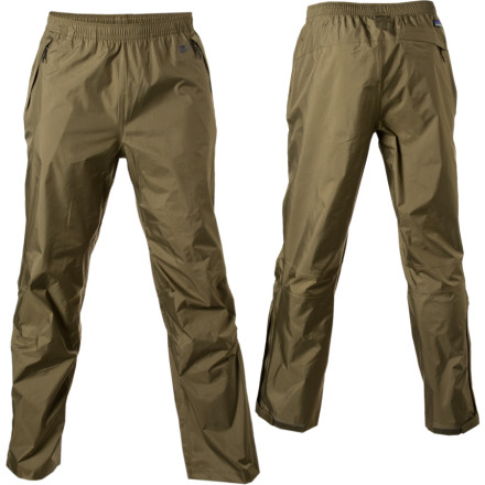Designed to combat wet weather from the jungle to the ridgeline, the Patagonia Mens Torrentshell Pant is a streamlined rain pant that does what its supposed to. Zippered lower legs make it easy to pull the pant on while wearing your boots, and three zippered pockets store your essentials. When the skies clear, the pant stows in its own back pocket. - $64.35