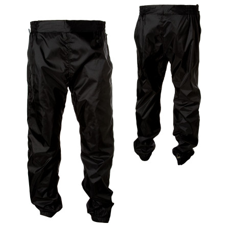 Camp and Hike The lightweight and water-resistant Sierra Designs Mens Microlight Pant blocks wind and moisture on in-town bike commutes or muddy splashes and light rain on long day hikes. This polyester pant packs up small in the included stuff sack, and disappears in your pack until things get wet. The elastic waistband lets you pull it on over your hiking pants, and the two zippered hand pockets hold your pocket knife and energy bar. - $36.95