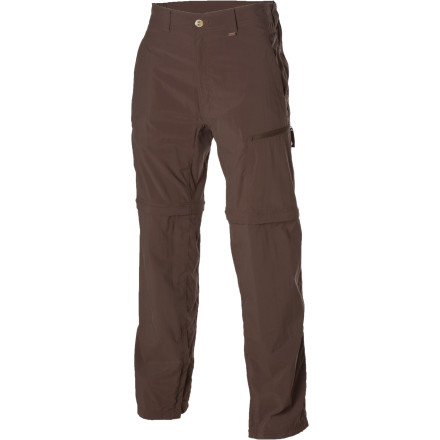 Climbing In a flash, the ExOfficio Men's Bugsaway Ziwa Convertible pants transform from a pair of lightweight hiking pants, to a pair of breezy hiking shorts. Head up into the mountains for a quick dip in the river, and by the time you hit the trail again, the quick-drying Ziwa will feel right as rain. An Insect Shield fabric treatment fends off mosquitos, gnats, no-see-ums, and the like, so you can return home without looking like Mother Nature's pincushion. Don't sweat the sun either, because the Ziwa sports Sun Guard fabric that provides some additional protection against harmful UV rays that would damage your skin. - $98.95