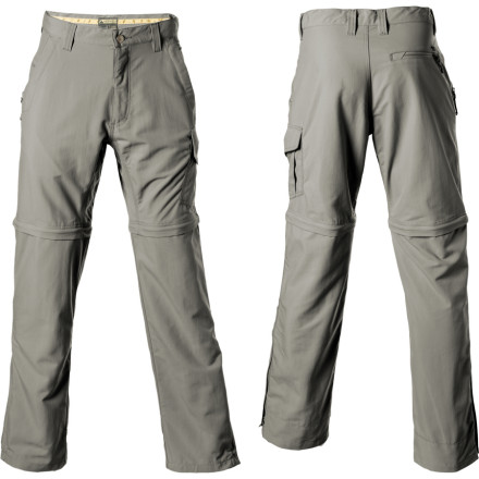 Climbing Whether youre hunting for cutthroats or backpacking the High Sierra, the Mountain Khakis Mens Snake River Convertible Pant is all youll need for your lower half. Made from lightweight, quick-drying UPF 50 nylon, the Snake River Convertible features zip-off legs to easily convert to shorts when the high-noon sun beats down. Triple-stitched seams ensure multi-season durability. Mud flap cuffs keep down the spray, and a gusseted crotch provides unrestricted movement when youre hopping boulders or reeling in the big one. - $89.95