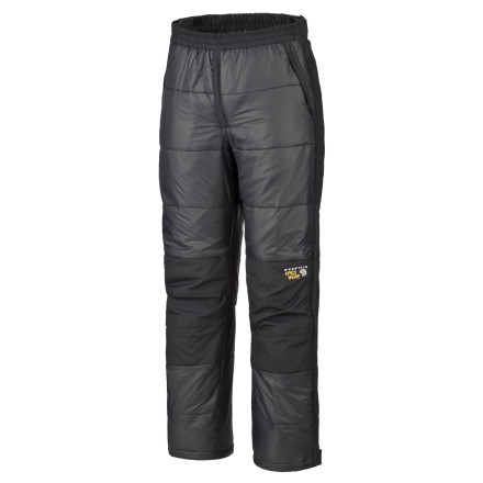 Camp and Hike The Mountain Hardwear Mens Compressor Pant are ideal for cold tent-bound spells and acclimatization days in base camp. This PrimaLoft ECO-insulated pant protects your legs from the harsh cold of high-altitude peaks and packs down easily into the included stuff sack. - $174.95