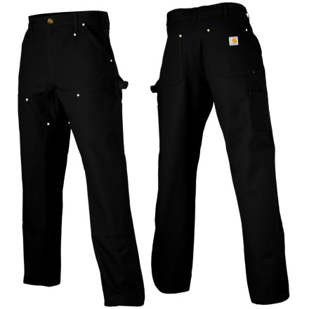 Camp and Hike The Carhartt Men's Double Front Work Dungaree has you covered when the going gets tough. This burly work pant fits at the natural waist and sports a full seat and thigh. These heavy duty Carhartts feature a chap-style front with a cleanout bottom that easily accommodates knee pads, and a generous 19-inch leg opening that welcomes work boots. Peppered with tool pockets and a hammer loop, you'll appreciate taking fewer trips to the toolbox. - $54.95