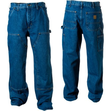 The Carhartt Men's Double-Front Logger Dungaree Denim Pants put an extra level of chap-style reinforced material between your work and your legs. These rugged pants sit right at your waist and hang a little longer than standard jeans for a regular, relaxed fit. - $51.95