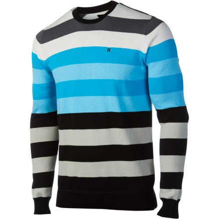 Surf The Hurley Engine Sweater won't protect you from bullets, but it will protect you from looking lame. This straightforward, striped pullover works with just about anything you want to wear and will have you ready for afternoon hangouts or evenings on the town. It will even look great over a bulletproof vest for those times when you need a little extra protection. - $41.21