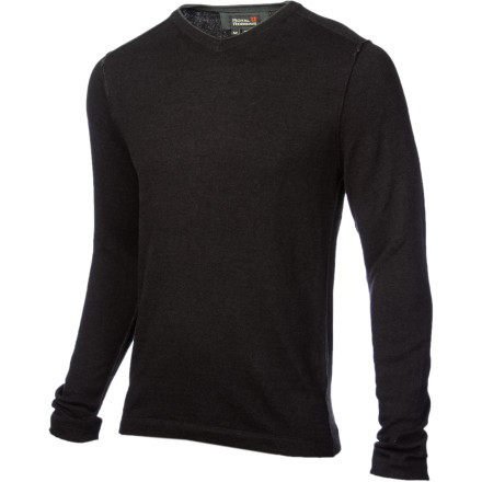 Entertainment The Royal Robbins Men's Horizon Solid V-Neck Sweater successfully combines simple style with  everyday functionality. A blend of cotton, nylon, and super-soft angora make this sweater warm, comfy, and easy to care for while the reverse-joined seams provide a unique, worn look. - $41.97