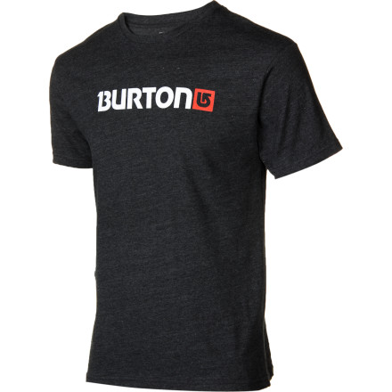Snowboard The Burton Logo Horizontal T-Shirt is classic in every way. It sports simple, straightforward front and back logos, has a regular fit, and consists of pure, uncut cotton. - $15.71