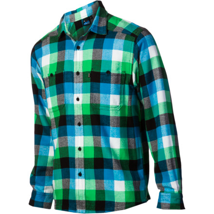 Surf Whether you're chopping up your winter's supply of firewood, working on your rusty truck, or standing back admiring your new back deck, the Kavu Men's Big Joe Shirt keeps you comfortably grounded. Its two chest pockets stash your pencil and measuring tape, while a hidden snap back hem pocket stores your cash. - $38.97