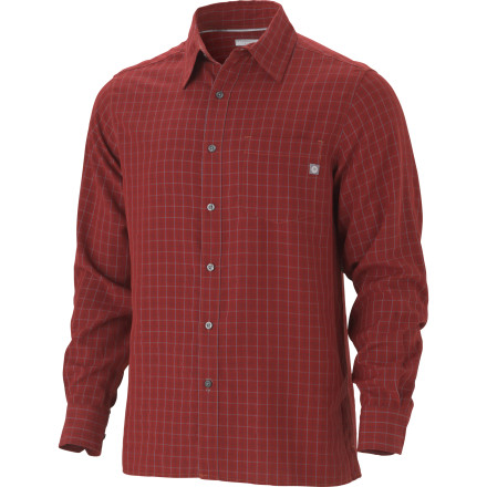 Camp and Hike Button up the Marmot Mens Eldridge Long-Sleeved Shirt before embarking on an exposed day hike or volunteering at a bike race feed-zone. Generous UV protection blocks the suns harmful rays. When noon rolls around, youll appreciate the Eldridge Shirts side vents and moisture-wicking synthetic fabric. - $41.97