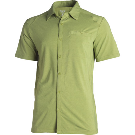 Relax in the sunshine or get some work done in your man cave while wearing the Mountain Hardwear Men's Frequentor Shirt. Strapped with an office job' You could wear this shirt into cubicle-land without anyone noticing. The buttery-smooth Dri-Release fabric combines stretchy synthetics with luxurious cotton, the ideal combination for comfort. Eventually you'll wear this shirt so often that you might have to buy another color, just so people get the idea that you do laundry. - $37.48