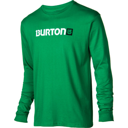 Snowboard The Burton Men's Logo Horizontal Slim T-Shirt has a horizontally positioned graphic on the chest. Brilliant! Give that smooth cotton shirt a medal. - $20.21