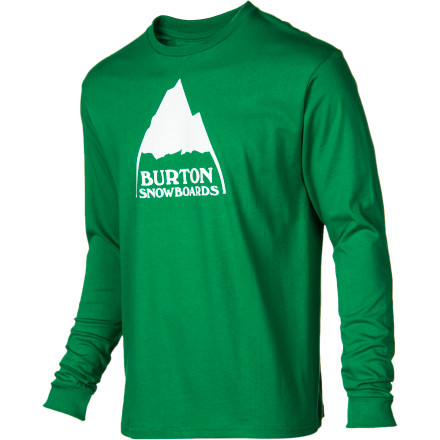 Snowboard Toss on the Burton Men's Mountain Logo Slim Long-Sleeve T-Shirt after a shredtacular pow day and head out on the town to celebrate with a traditional cougar hunt. - $17.52