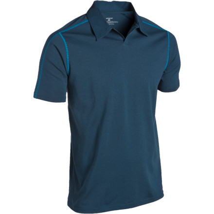 Camp and Hike Go straight to the crags or the trail to dinner wearing the Patagonia Mens Stretch Polo Shirt. This slim-fit shirt features soft organic cotton on the outside with polyester on the inside to wick moisture away from your skin; a generous dose of spandex throughout gives the shirt a comfortable fit and performance stretch. The shirt's collar not only provides extra protection from the sun for your neck, but gives the shirt a touch of class that stands out in the pub crowded with climbers, hikers, and bikers coming off the trails at the end of the day. - $59.00