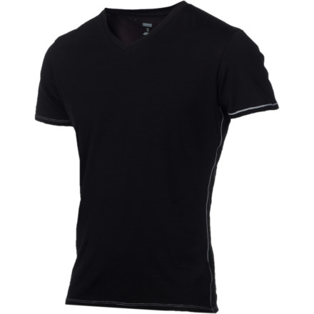 Keep it simple, comfortable, and stink-free with the Icebreaker BodyFit 150 V-Neck Short Sleeve T-Shirt. Merino wool wicks moisture and fights odor to keep you comfortable and keep folks around you from being forced to enjoy your post-workout aroma. - $59.95