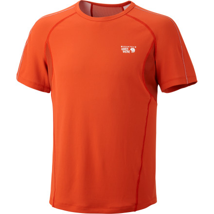 Most synthetic performance shirts claim the ability to move moisture away from your skin, but the Mountain Hardwear Men's Elmoro T-Shirt boasts one of the fastest moisture-transport times on the marketyou'll feel more comfortable than ever on long runs. An array of details like an odor-controlling fabric treatment, stretch mesh panels, and reflective trim further set this training shirt apart from the pack. - $38.47