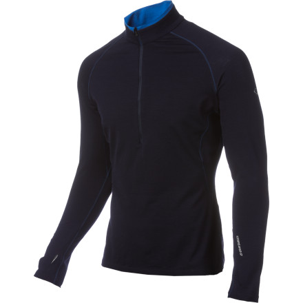 Like a sports car for your skin, the Icebreaker GT200 Sprint Zip Long-Sleeve outperforms all others in fit, looks, and performance. New Zealand Merino wool insulates, wicks, and fights odor naturally, while a touch of Lycra enhances the body-hugging cut and speeds drying time. Thumbholes at the wrists keep your hands warmer, and keep the sleeves from bunching in your armpits during heavy activity. Reflective logos add visibility in the evening. - $109.95