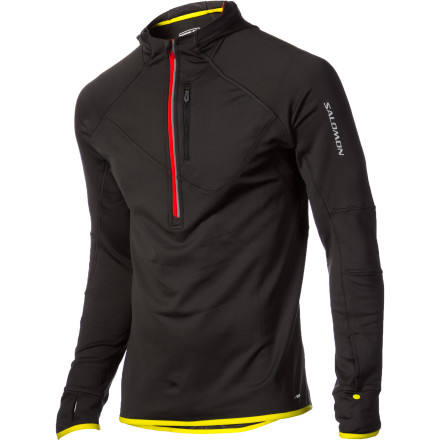 Ski The Salomon Men's Swift Midlayer Hooded Long-Sleeve Shirt has you comfortably covered while you breathe deeply, push off on your skate skis, and begin your workout. This warm, breathable mid-layer works superbly in cold weather while you snowshoe, skate ski, or tour. - $84.00