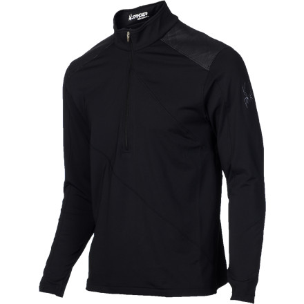 Avoid getting clammy under your shell by layering up with the Spyder Eiger Dry W.E.B. Zip-Neck Top. Bi-component Dry W.E.B. fabric uses spun polyester on the inside to wick moisture away from your skin and transport it to the microfiber filament polyester on the outside face, where it can evaporate quickly. The antimicrobial treatment keeps it fresh enough to be worn straight to the pub when the lifts close, where you can utilize the credit card stashed in the welded sleeve pocket to buy a round for your buddies. - $62.97