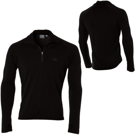Ski The Icebreaker Men's BodyFit260 Tech Top features super high quality New Zealand merino wool. The Tech Top has a three-way neck (zipped up to your chin, zipped and rolled like a turtleneck, or unzipped for venting) for versatility and thumb loops to help warm your hands and hold sleeves in place. Merino keeps its heat-retaining properties when wet, prevents body odor build-up, offers expedition-weight warmth at half the bulk of an equivalent synthetic, and rivals many synthetics in breathability. The Tech Top's natural four-way stretch sticks with you through every move. Use the Icebreaker Tech Top as a base layer when skiing or as a shirt for cold-weather fall and spring activities. - $59.97