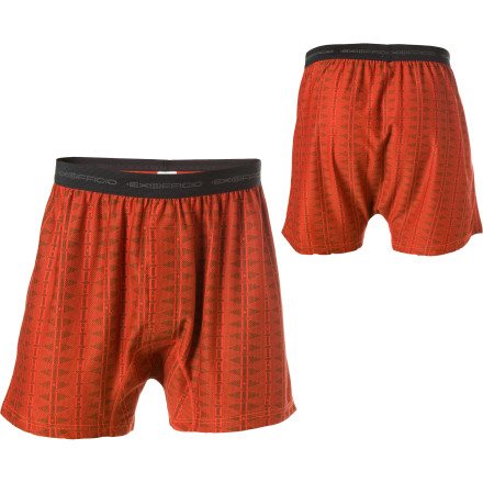 Camp and Hike When showering isnt an option, wear the ExOfficio Mens Give-N-Go Aztec Boxer. Whether youre stuck in an airport for days or backpacking through the Adirondacks, this moisture-wicking, odor-resistant, and quick-drying boxer keeps the boys happy and you comfortable. Its lightweight and stretchy fabric also makes the Give-N-Go easy to wear beneath your shorts or pants. - $19.47