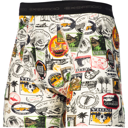 Whether your travels lead you halfway around the world or just a short walk from home, the ExOfficio Men's Give-N-Go Sight Seek'r Boxer Brief will keep you dry, comfortable, and supported along the way. The breathable blend of nylon and spandex makes cotton underwear a relic of the past, and the Sight Seek'r print is certain to strike a chord with avid travelers. - $19.47