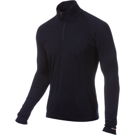 Fitness The Icebreaker Men's BodyFit Mondo Zip Top is not to be confused with a turtleneck. Sure, this versatile top has a high neck, but no turtle has a zip. This feature lets you regulate your temperature and/or show some chest hair. Rawr. Icebreaker's itchless 200-weight merino wool expertly manages moisture, resists odor, and offers great mid-weight insulation for autumn mountain biking or winter layering. Raglan sleeves feel comfortable under a pack, the slim fit reduces bulk, and flat sewn stitching reduces pressure points. - $53.97