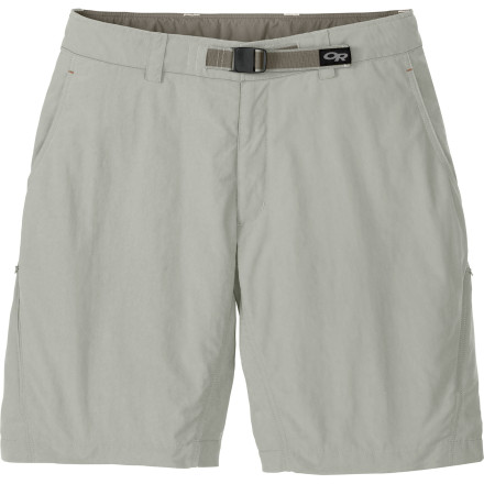 Climbing The Outdoor Research Men's Equinox Short is a classic hiking short for hitting the trail with your buddies or your dog. If it should start to drizzle on you, the DWR finish repels light rain and wind, and a gussted crotch won't hinder your movement when you scamper back to the car. - $64.95