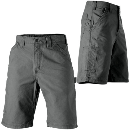 Camp and Hike The Carhartt Men's Canvas Work Shorts are lightweight for hot summer days, but durable to get through your 60 hour work weeks without backing down. They have a loose-fit and a mid-rise waist. The left leg features a hammer loop and a ruler pocket, so you won't trip over your tools. The right leg has a cell-phone pocket and a utility band. - $39.95