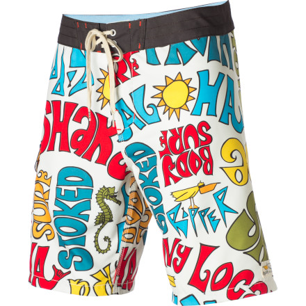 Surf The Billabong Men's Andy Davis Shaka Board Short is a complete tribute to the aquatic life drawn by an artist who actually lives it. Recycled polyester ups the earth-friendly vibe. - $32.70
