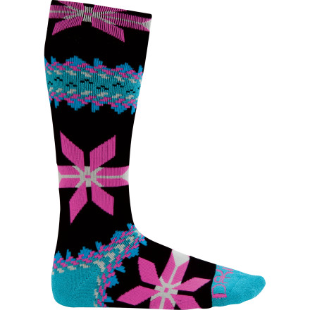 Snowboard The DAKINE Dora Sock's super-cute knit pattern is surpassed only by its toasty Merino wool blend that keeps your feet dry, warm, and happy all day. - $19.95