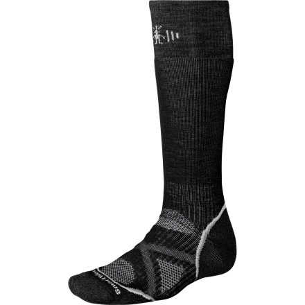 Snowboard SmartWool used a soft blend of merino wool and synthetic fibers in the PhD Snowboard Medium Sock. Midweight merino wool traps heat so your toes won't freeze inside your boots while blended synthetics get rid of excess moisture and provide energizing compression right where you need it. - $25.90