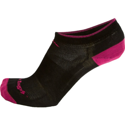 Fitness Darn Tough designers used a state-of-the-art knitting machine so you don't have to feel any seams while you run in the Women's Merino Wool True Seamless No-Show Mesh Running Socks. Open mesh knitting on top of the foot, reinforced heels and toes, and elastic support are worked into the Coolmax fabric blend to enhance performance. - $13.95