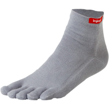 Fitness The injinji Performance Mini-Crew Sock uses a combination of quick-wicking Coolmax and stretchy Lycra to out-perform any cotton sock out there, and they have separate toes to reduce friction. This unique design drastically decreases the chances of blisters forming on your toes. An ankle-height cut makes these injinji socks a great pick for anything from summer trail running to backpacking to hanging in town. - $7.80