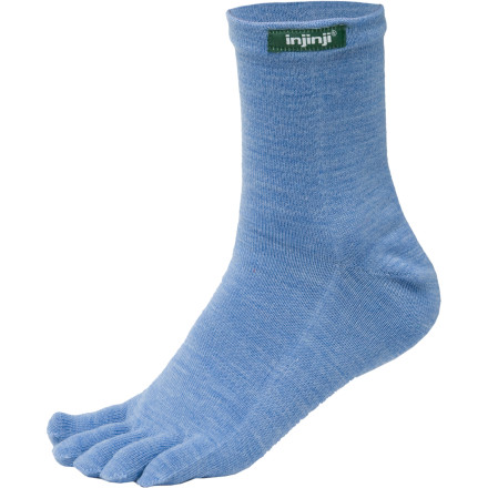 Fitness The injinji Outdoor Quarter Crew Toe Socks' use individual toes to reduce friction and decrease the chances of blisters while their NuWool material regulates foot temperature in both warm and cold conditions. These unique socks work great for everything from a summer hike to a winter snowshoe trip thanks to this amazing material. These injinji socks provide insulation for your foot in cold weather, even if they get wet, and they help your feet stay cool during a hot weekend backpacking trip. - $8.00