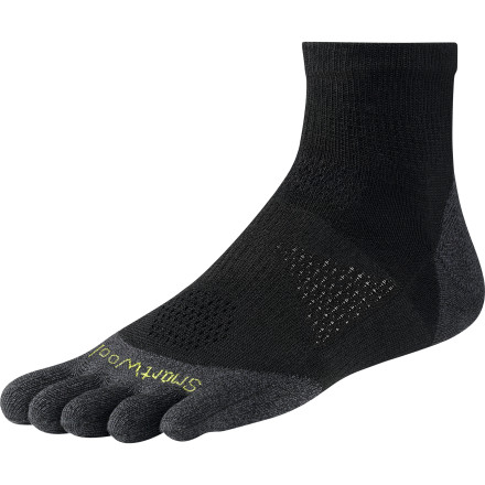 Fitness The SmartWool PhD Toe Mini Sock features a separate compartment sleeve for each toe and is built with non-itchy merino wool to minimize irritation and provide a blister-free run. - $20.90