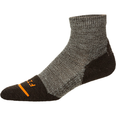 Camp and Hike The FITS Light Hiker Quarter Sock is packing tons of cushy comfort without extra weight. The above-ankle cut easily protects your foot from blistering and chafing from low- and mid-top boot-cuffs, while the cushioned sole absorbs shock and relieves pressure that can cause fatigue. - $17.95