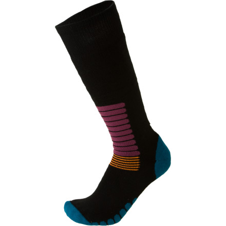 Ski The EURO Socks Zone Ski Sock helps you take your skiing to the next level. Roll these suckers on your feet and enjoy plush padding through the shin, heel, and forefoot. Strategically placed channels between padding allow for breathability and moisture transfer which maximize comfort. Elasticized arches and ankle bracing keep these socks from shifting and bunching, while flat knit construction prevents hot spots. - $19.95