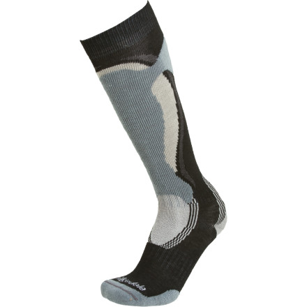 Ski Designed with a blend of ultra-warm and plush merino wool, moisture-wicking synthetics, and stretchy Lycra, the Bridgedale Men's Midweight Control Fit Ski Sock is perfect for a day on the slopes. The anatomically cushioned forefoot keeps your little piggies warm as you sniff out fresh tracks, and the friction-free heel and ankle areas allow for easy boot entry and exit. The sock's lightly graded compression provides extra comfort, and the high-friction forefoot improves energy transfer from foot to boot to ski. - $14.27