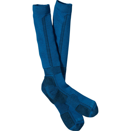 Ski You wouldn't dare shove your most complex appendage into a rigid plastic ski boot without the cushioned Patagonia Midweight Merino Ski Sock acting as a warm, friendly barrier. A calf-height ski sock that's midweight for the coldest days or for skiers who like a little more cushioning. - $29.00