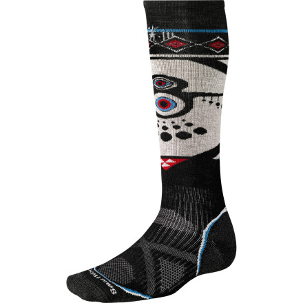 Ski The SmartWool Antony Boronowski PhD Athlete Artist Series Socks combine the great feel of merino wool with performance-based construction and the look of great art. Antony Boronowsk's graphics show up on skis and clothing; now, these SmartWool ski socks bring his over-the-top style to your feet, so don't be surprised if you draw some envious glances when you're unwinding in a mid-mountain yurt. - $20.93