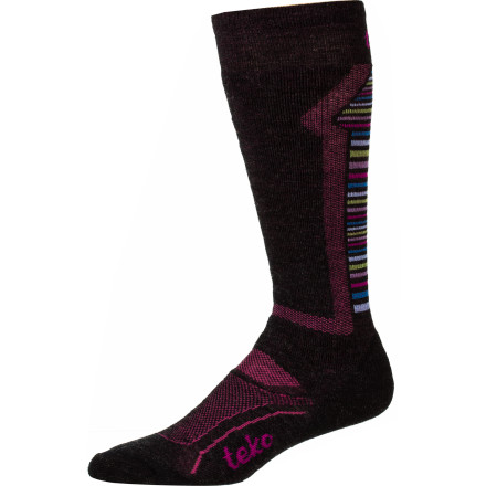 Ski The Teko Women's M3RINO.XC Medium Ski Sock is specifically designed to meet the needs of hard-charging female riders. Narrow heel pockets, cushioned shin zones, and tapered toes combine with quality merino wool to provide a custom fit and all-day warmth for ladies who slay. - $22.90