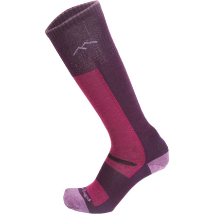 Ski The Darn Tough Merino Wool Over-The-Calf Ultra-Light Ski Sock has a low-bulk race-ready fit, but doesn't balk at brrrr-inducing temps. Merino wool regulates your temperature over a wide range of conditions, breathing well in warm weather and insulating in cold. - $22.95