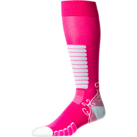 Ski Give your foot the help it needs to get through another day in that plastic prison with the EURO Sock Women's Sweet Silver Ski Sock. Shaped to fit your curvy lady foot, this stretchy, breathable, and quick-drying sock supports your arch so you can comfortably and efficiently power your ski down the hill. - $16.22