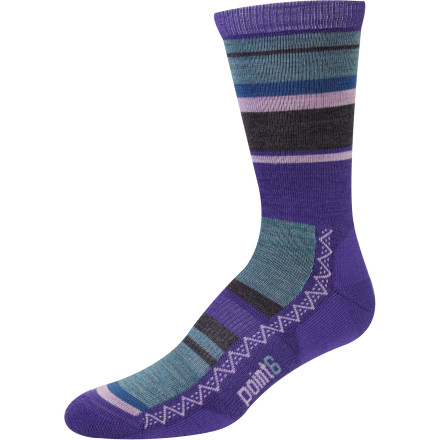 A touch of cushioning under your foot makes the Point6 Women's Multi Stripe Light Crew Sock the perfect sock for your everyday adventures. Bold stripes give this buttery-smooth merino wool thread a splash of color to keep things fun. Merino wool naturally resists odor, wicks stifling sweat away from your feet, and breathes to help regulate temperature. Sheep really know how to party. - $18.95