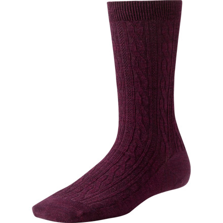 The SmartWool Women's Cable Sock are a treat for your feet, whether you wear them to work, school, or kick back on the couch in them. These luxuriously soft socks with smooth toe seams and a hint of cushioning are so comfy, you won't want to take them off. Since wool stays relatively odor-free, you don't have to take them offfor a few days, at least. - $10.99
